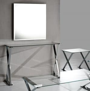 Ics consolle, Consolle con base in acciaio, piano in cristallo trasparente