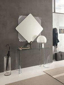 LYNX COC06, Consolle e specchiera in vetro curvato per appartamenti moderni