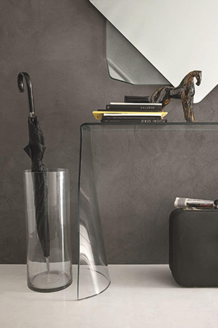 Consolle e specchiera in vetro curvato per appartamenti for Consolle vetro