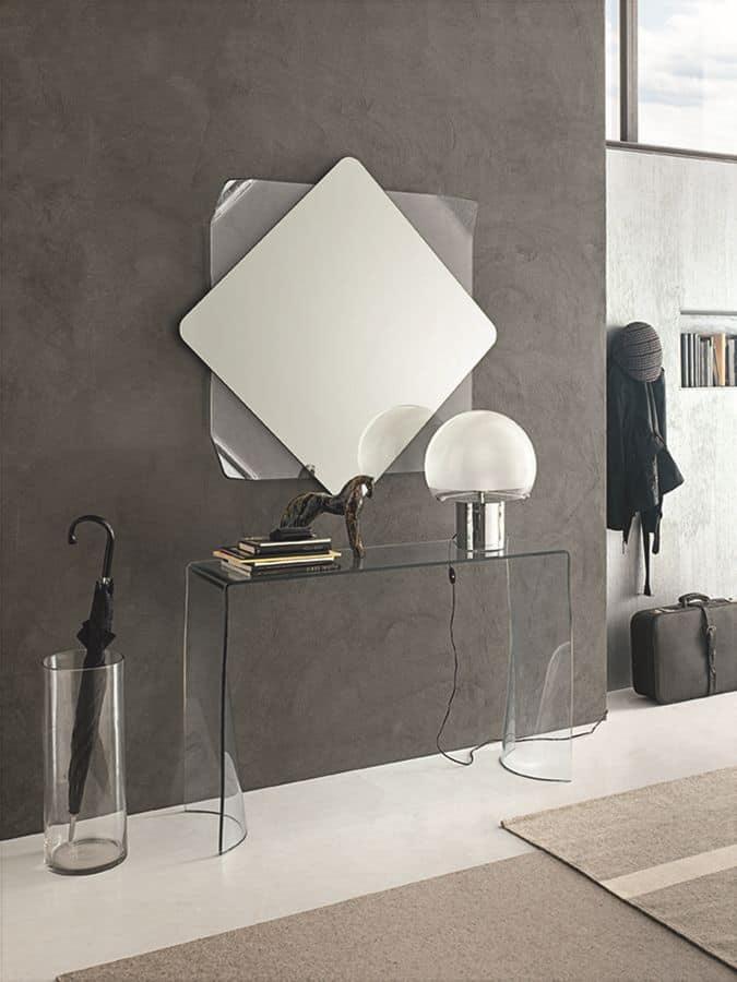 Linx coc06 consolle e specchiera in vetro curvato ideale for Appartamenti moderni