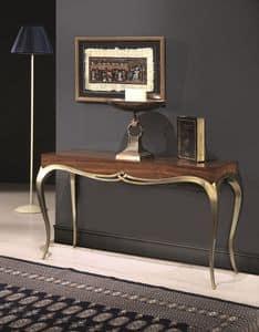 LOVE consolle 8676K, Consolle in legno massello, stile classico, gambe finitura dorata