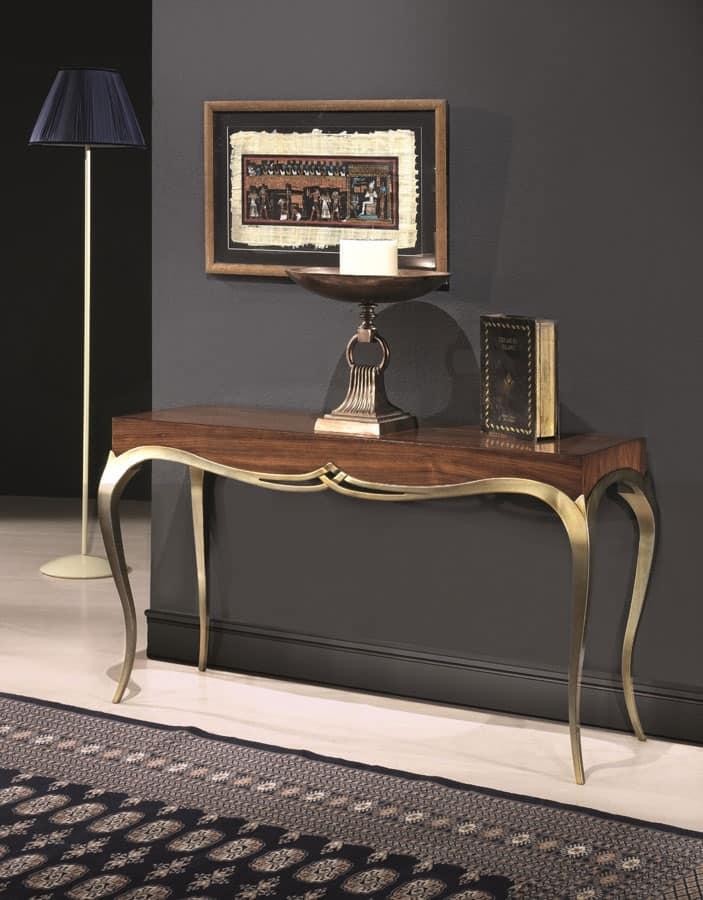 Consolle in legno massello stile classico gambe finitura dorata idfdesign - Consolle bagno classico ...