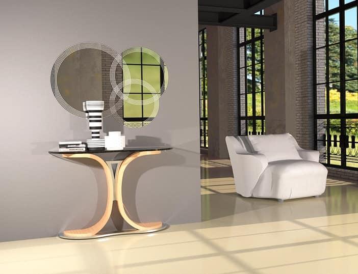 Consolle con base in legno e metallo piano in vetro for Consolle metallo