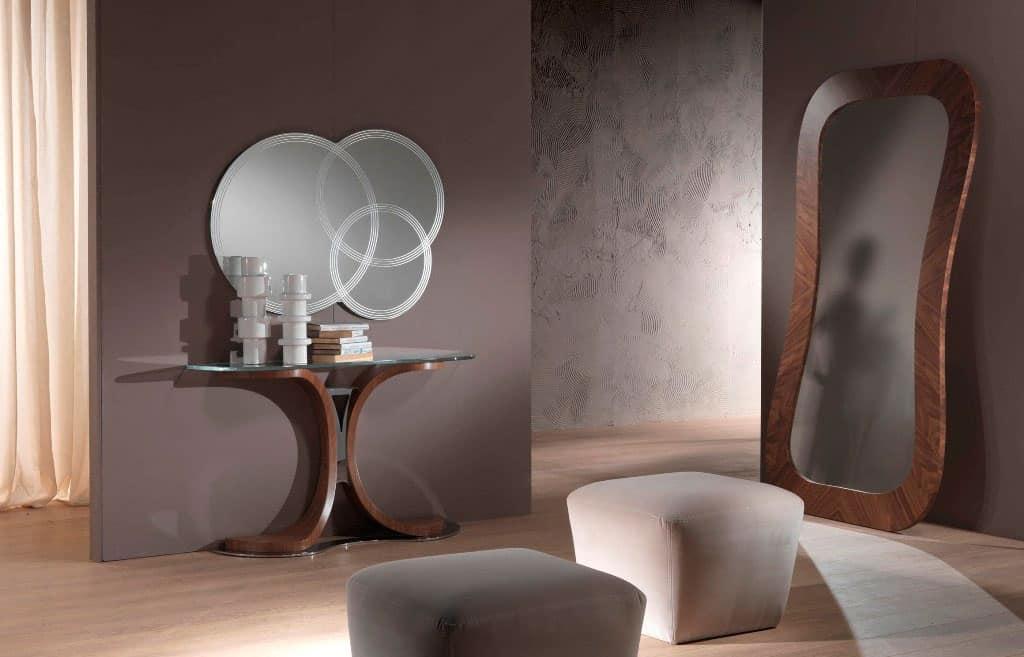 Consolle con base in metallo e legno, piano in vetro  IDFdesign