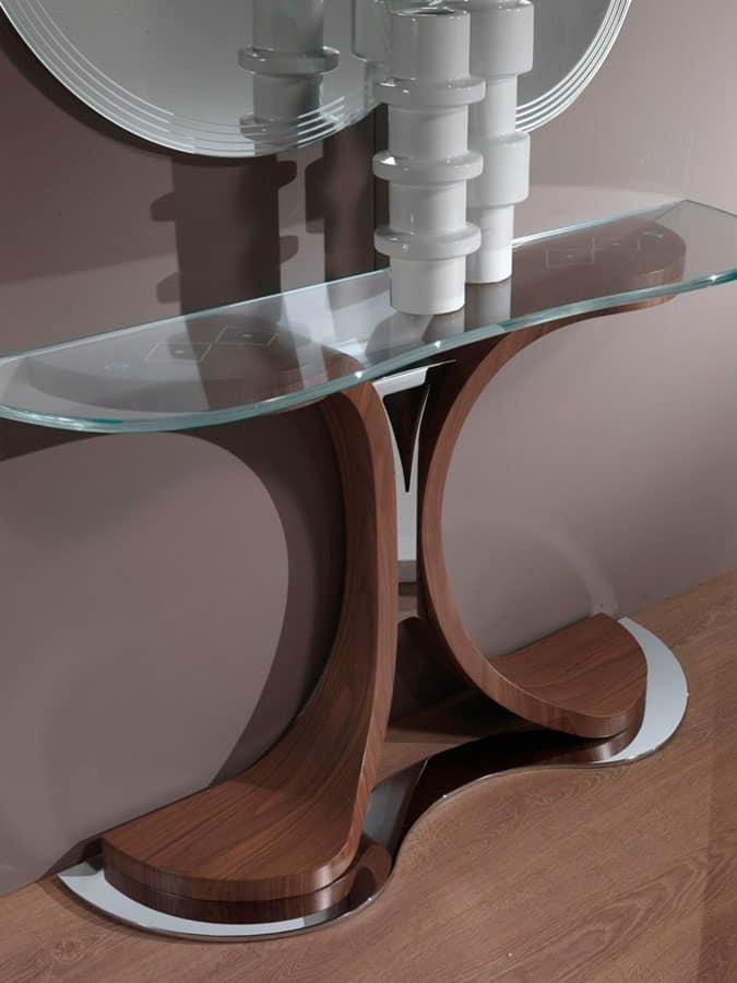 Consolle con base in metallo e legno piano in vetro for Consolle metallo