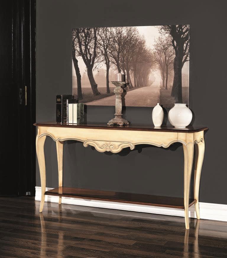 Consolle in legno stile neoclassico con doppio ripiano idfdesign - Consolle bagno classico ...