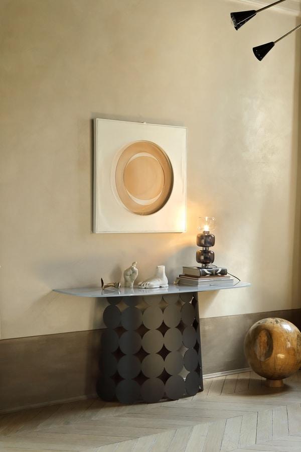 POIS CONSOLLE, Consolle in acciaio con top in vetro o ceramica