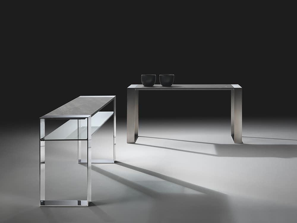 Consolle con gambe in acciaio piano in vetro idfdesign for Consolle in vetro