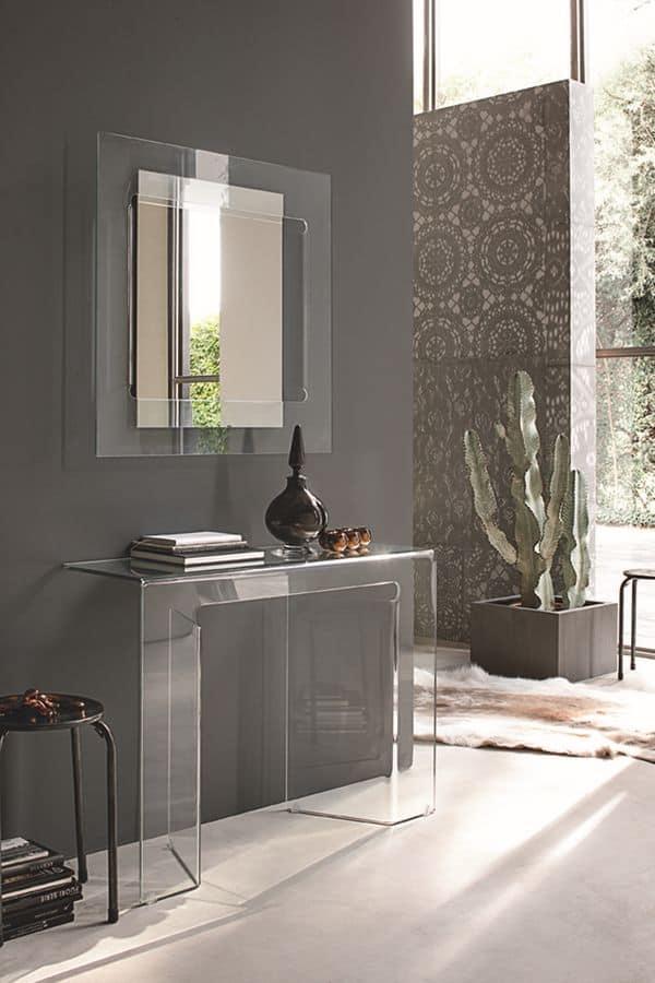 Consolle e specchiera in vetro curvato ideale per ambienti for Consolle in vetro
