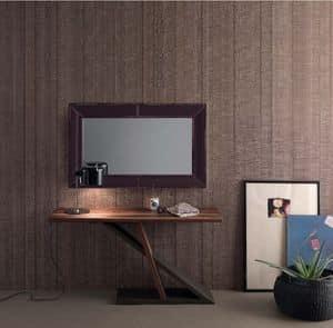 Zed, Console moderna in legno adatta per la casa , consolle in metallo adatta per l'ingresso
