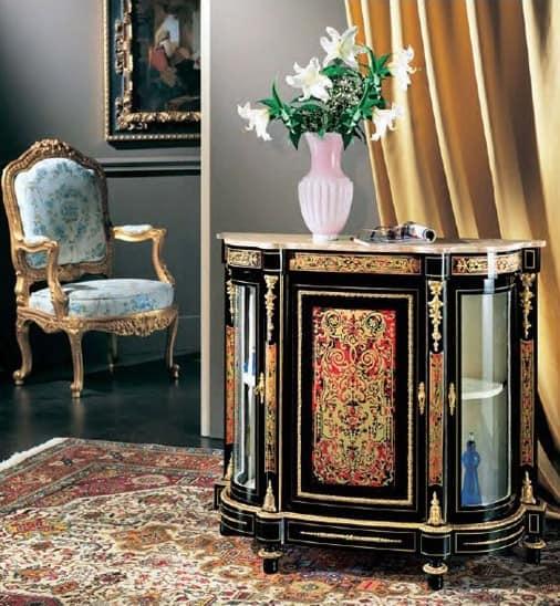 1020, Consolle classico di lusso, con piano in marmo e 3 porte