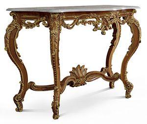 2579, Consolle con piano in marmo, base in legno intagliato