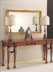 2790 CONSOLLE, Consolle in legno intarsiato, stile classico di lusso