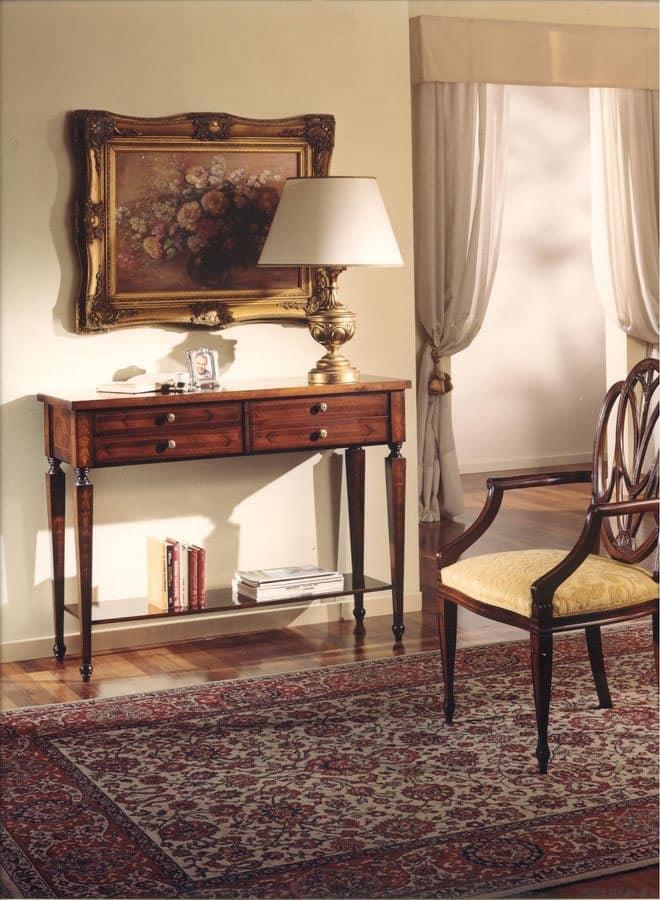 Consolle in legno con 4 cassetti stile classico idfdesign for Consolle con cassetti