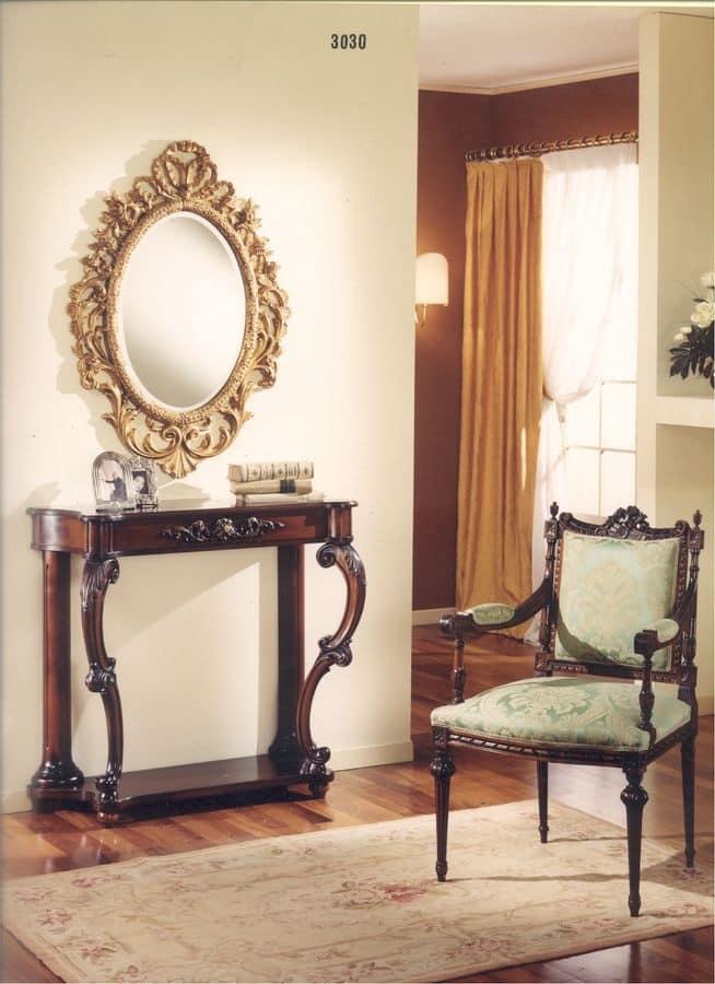 3030 CONSOLLE, Consolle classica per hotel, consolle classica di lusso per la casa