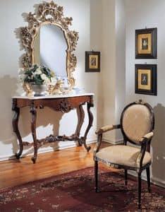 3200 CONSOLLE, Consolle classica di lusso, piano in marmo Botticino