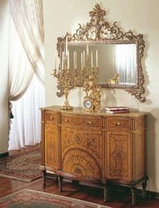 335, Consolle classica di lusso con radica di mirto e ulivo
