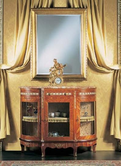 660, Consolle classica, in legno di rosa, con porte in cristallo