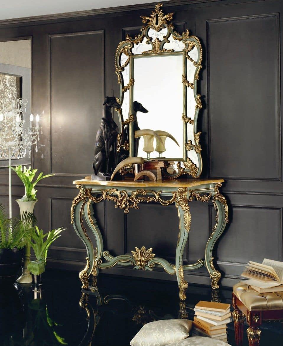 7030-7031, Consolle con specchiera, in tiglio massello, piano in marmo, per ambienti in stile