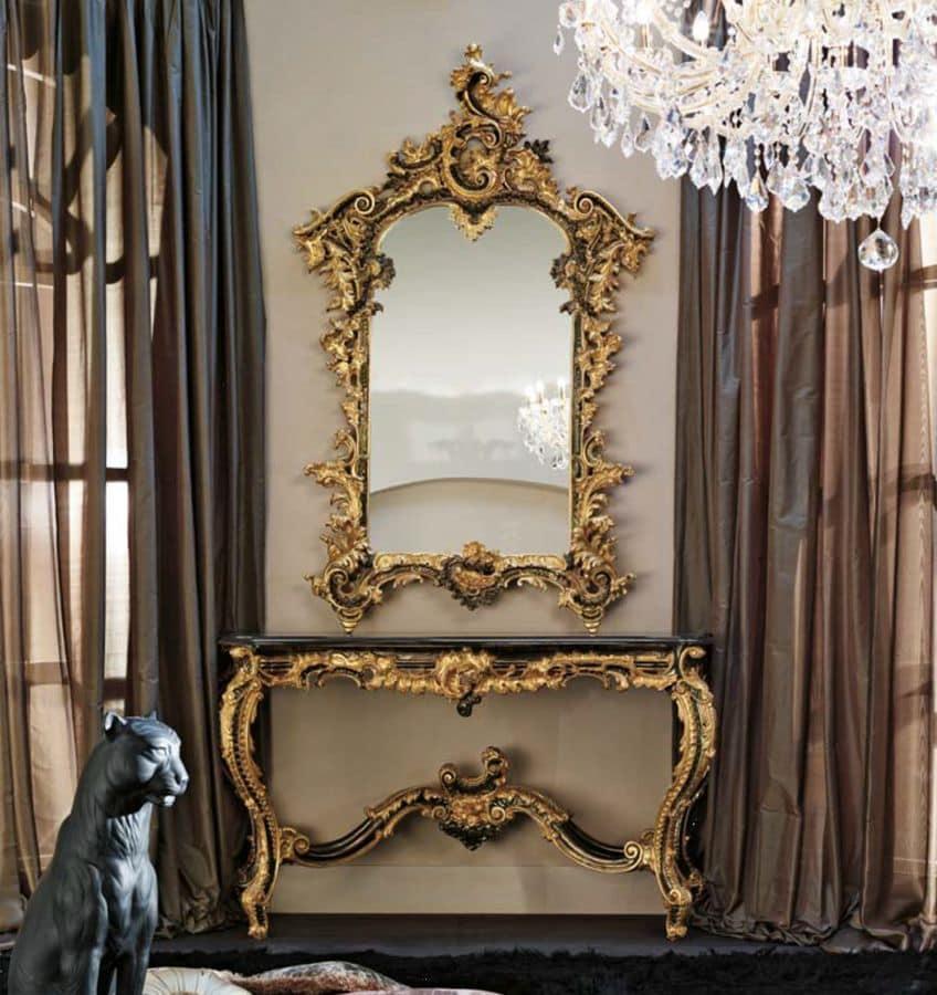 Consolle con specchiera piano in marmo eramosa per ambienti in stile classico di lusso idfdesign - Consolle bagno classico ...