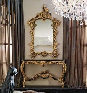 7541-2097, Consolle con specchiera, piano in marmo eramosa, per ambienti in stile classico di lusso