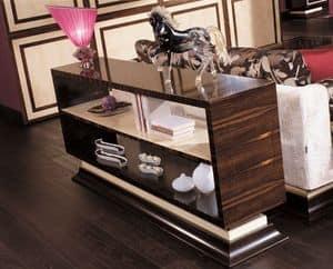 910, Consolle in ebano makassar e acero bianco, ideale per arredare ambienti classici di lusso