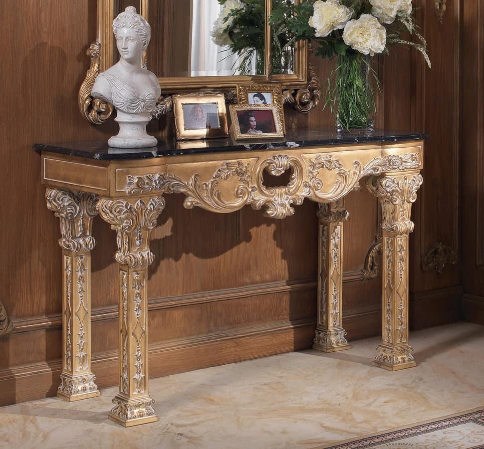 Consolle in legno con piano in marmo stile classico for Mobili da ristorante di design