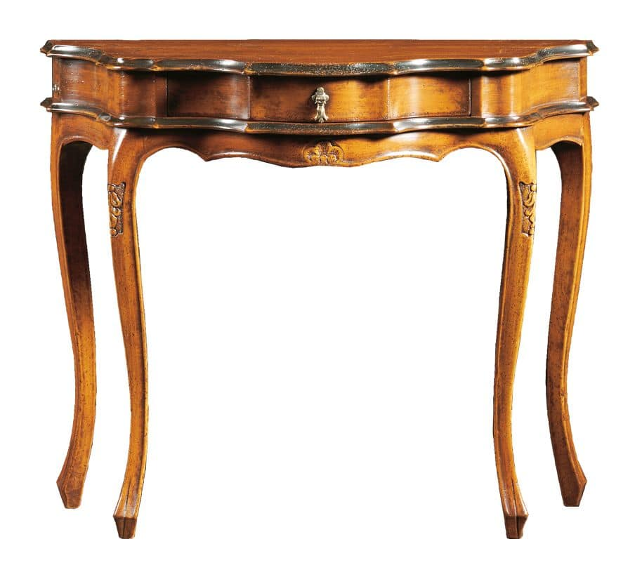 Annalisa FA.0005, Consolle barocca con cassetto centrale, per ambienti in stile classico