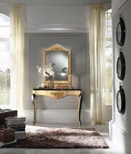 Art. 094 CONSOLLE CON SPECCHIERA, Consolle in solido legno, con abbellimenti in foglia oro