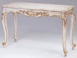 Art. 365 Mary, Consolle in legno decorato, piano in marmo, per ingressi
