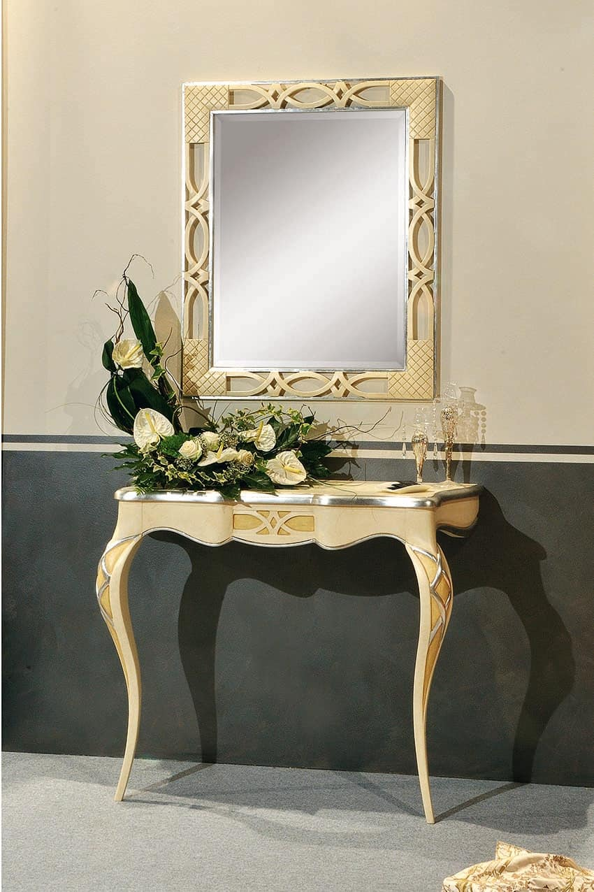 Consolle classica con 2 gambe, con decori foglia argento | IDFdesign