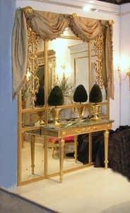 BOISERIE CON CONSOLLE ART. BS 0002 + CL 0009, Boiserie con consolle, in legno dorato e specchi