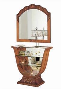 C606 Millennium, Consolle intarsiata, classica di lusso, schienale a specchio