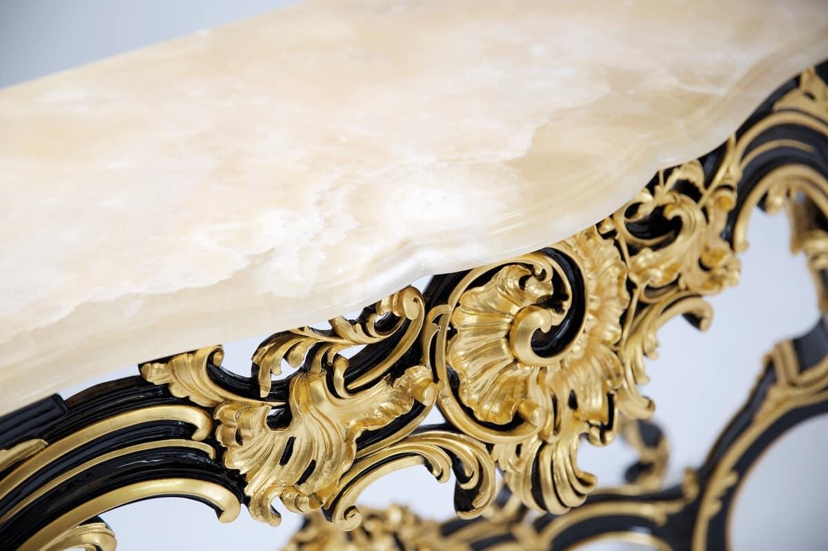 Charme consolle, Lussuosa consolle, con basamento intagliato e piano in marmo