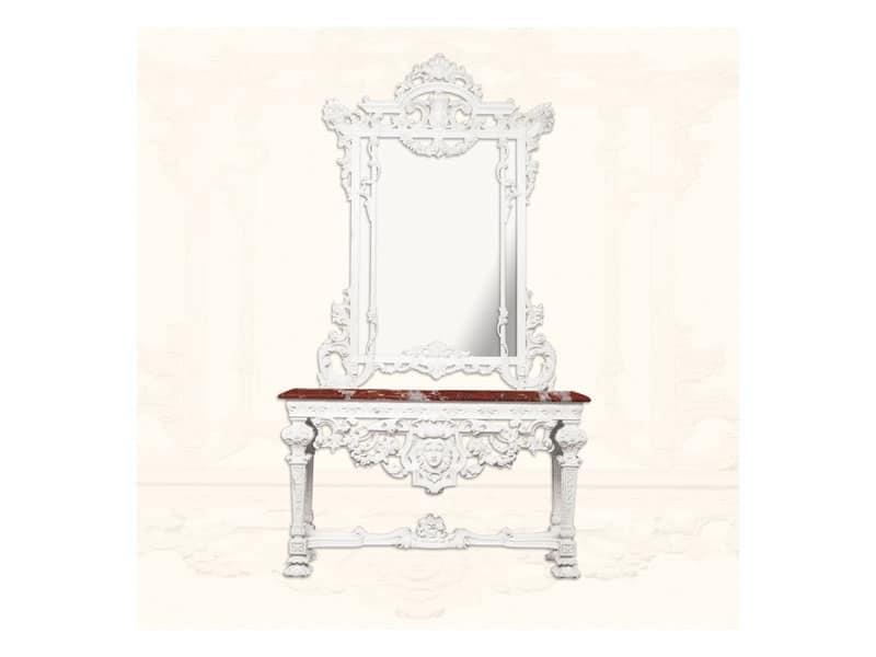 Console art. 226/a, Consolle in legno laccato bianco, piano in marmo rosso