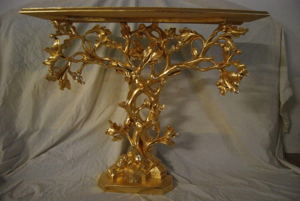 CONSOLLE ALBERO ART. CL0062, Consolle a forma di albero, intagliata a mano, dorata