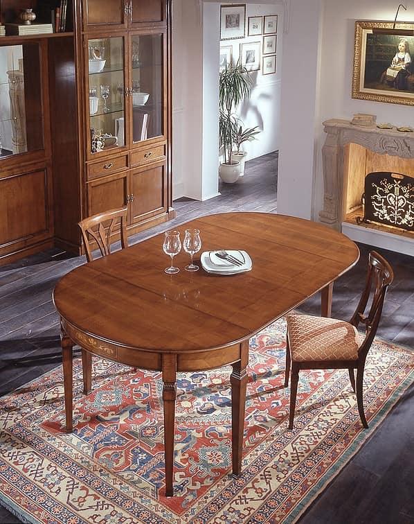 D 407, Tavolo consolle classico, in ciliegio impiallacciato