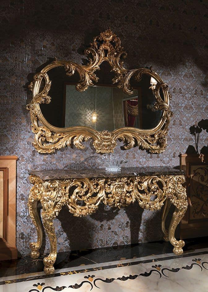 Consolle con piano in marmo e specchio dorato | IDFdesign
