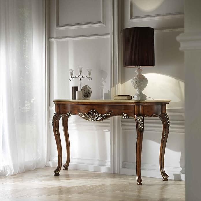 consolle in noce intagliata piano in marmo classica