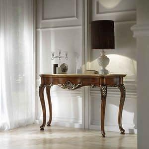 P 401, Consolle in noce intagliata, piano in marmo, classica