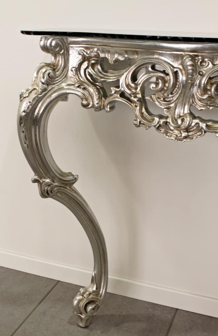 Consolle intagliata in stile classico barocco idfdesign for Consolle colorata
