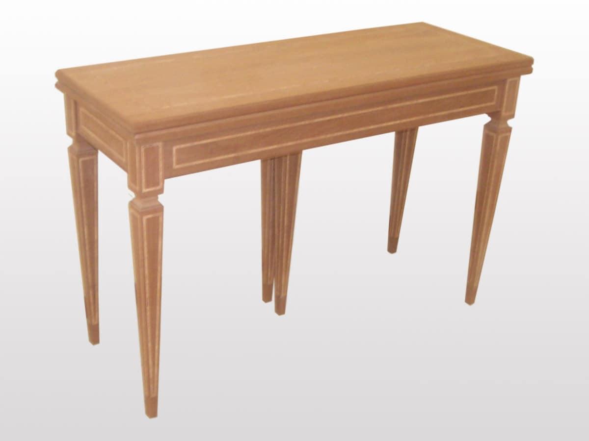 Spencer, Consolle in legno classica, allungabile, gambe a piramide