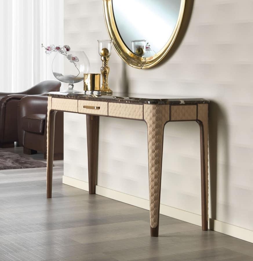 Consolle in rovere e pelle piano in marmo empherador for Consolle moderne in pelle
