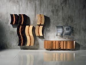 MB35 MB36 Mistral, Pensili modulari con decoro in legno e metallo