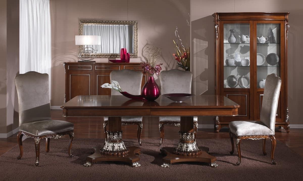 Credenza classica per sala da pranzo, finiture in foglia argento ...