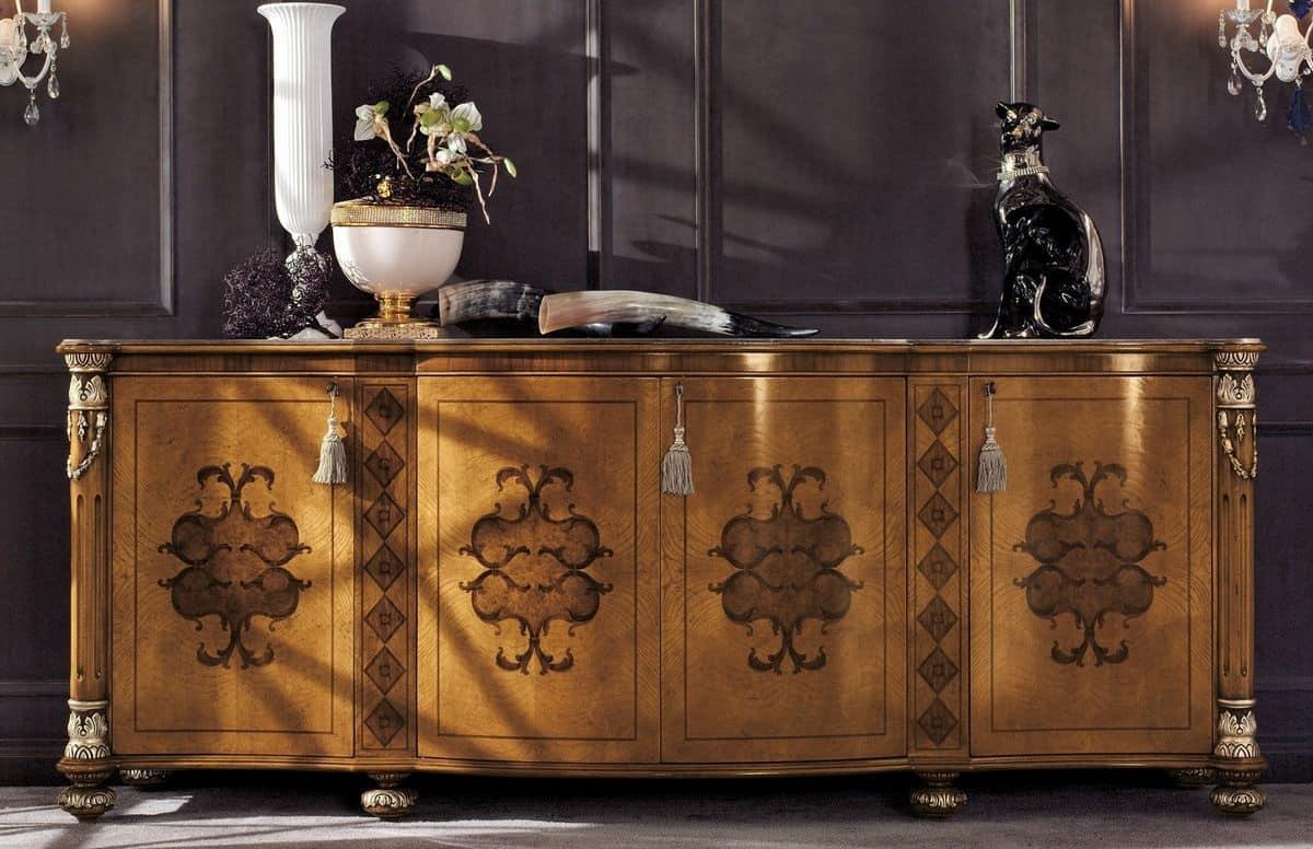 Credenza classica con 4 porte per soggiorno di lusso idfdesign