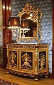 Art. 128, Credenza per prestigiose sale, con decorazioni intagliate a mano, intarsi a motivo floreale
