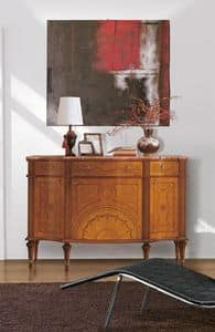 Art. 143, Credenza di lusso, in legno, 3 ante e 3 cassetti intarsiati, top in marmo