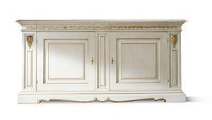 1452LQ, Credenza classica laccata bianca e foglia oro