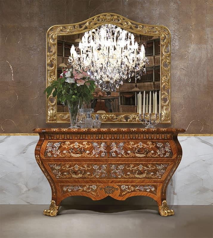 credenza classica di lusso, in legno, con 2 cassettoni, intagli a ... - Soggiorno Classico Di Lusso 2